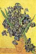 Impressionist painting of irises in a gold vase.  Located in the Van Gogh Museum, Amsterdam, Netherlands.  From a 1982 postcard by B.V. 't Lanthuys.