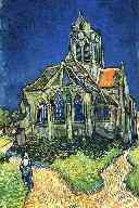 Impressionist painting of back of church.  Located in the Mus�e d' Orsay in Paris, France.  From a 1982 postcard by Fernand Hazan, editor.